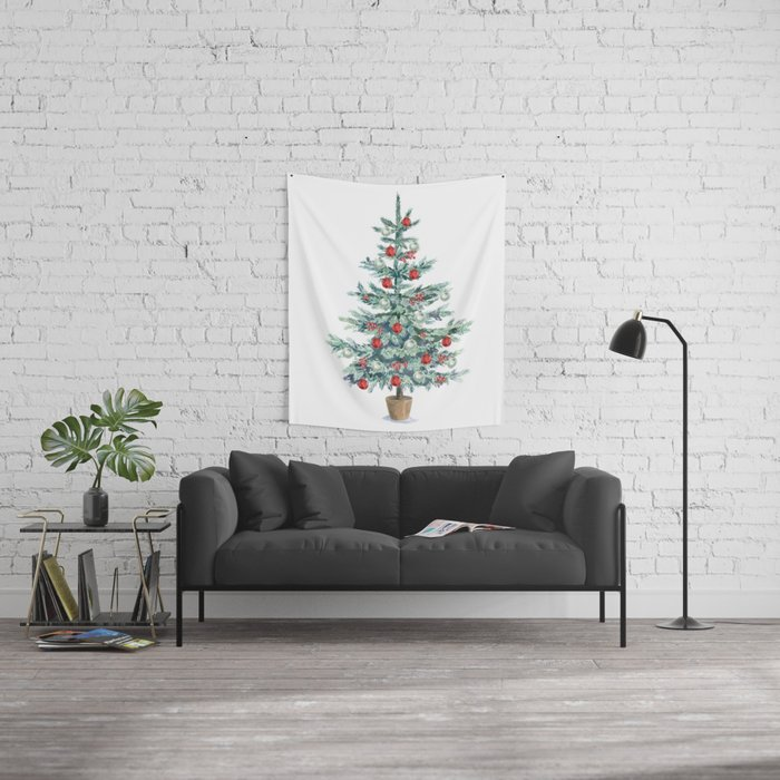 Christmas tree with red balls Wall Tapestry