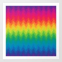 neon rainbow feather chevron  Art Print