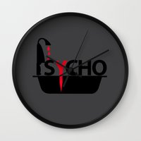 psycho Wall Clocks featuring Psycho by Oh! My darlink
