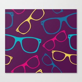 glasses Seamless pattern retro sunglasses Canvas Print