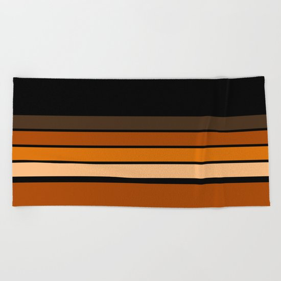 Black and yellow , brown and orange striped pattern . Beach Towel