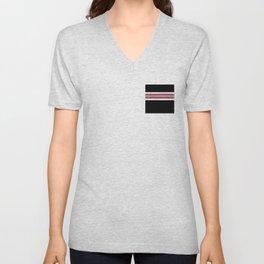 Team Colors 2...pink,white stripe on black Unisex V-Neck