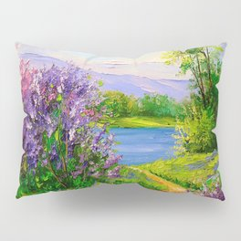 Lilac bloom on the river Pillow Sham