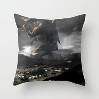 kaiju Throw Pillows featuring El Kaiju by SkullsNThings