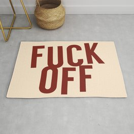 Fuck Off Red and Beige Rug