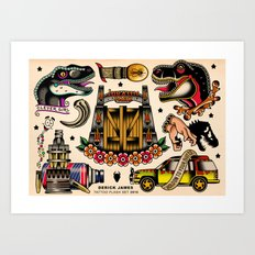 Jurassic tattoo flash set Art Print