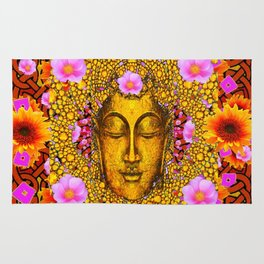 EXOTIC BUDDHA GOLD FACE FLORAL ART Rug