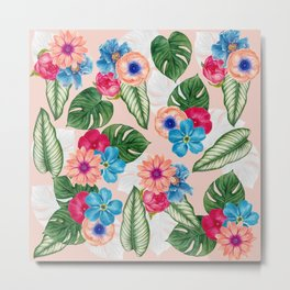 Blush Pink and Blue Watercolor Jungle Flowers Metal Print