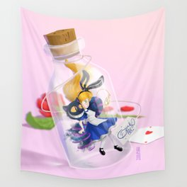 Alice in a bottle (drink me) Wall Tapestry