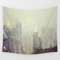 hong kong Wall Tapestries featuring Hong Kong Peak by JLee