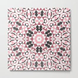 Mandala gray and pink Metal Print