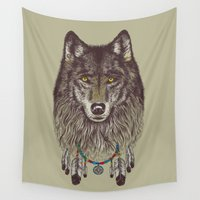 wind Wall Tapestries featuring Wind Catcher Wolf by Rachel Caldwell