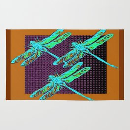 Coffee Brown Turquoise Dragonfly Art Rug
