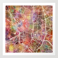 madrid Art Prints featuring Madrid by MapMapMaps.Watercolors