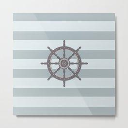 AFE Grey Nautical Wheel Metal Print
