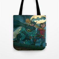 justice league Tote Bags featuring bat man the watch men justice league man of steel by Brian Hollins art