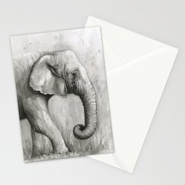 Elephant Black and White Watercolor Stationery Cards