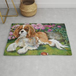 Cavalier King Charles Spaniel in the Garden Painting Rug
