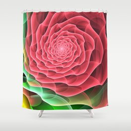 Swirling into a Rose Shower Curtain