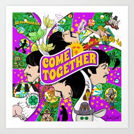 Come Together (Purple and Green) Art Print