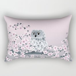 Cute Owl and Cherry Blossoms Pink Gray Rectangular Pillow