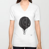hot air balloon V-neck T-shirts featuring Hot Air Balloon Skull by Teller & K (former Fupete)