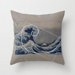 Hokusai Meets Fibonacci Throw Pillow