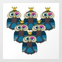minions Art Prints featuring Owl Minions  by Gabriel J Galvan