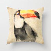 toucan Throw Pillows featuring Toucan by akaori_art