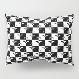 Black and White Checkerboard Scales of Justice Legal Pattern Pillow Sham