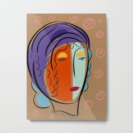 Minimal Expressionist Portrait Orange and Blue Metal Print