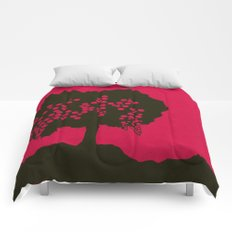 Fruit Tree Series, Red I Comforters