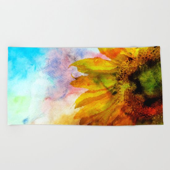 Sunflower on colorful watercolor background- Flowers on #Society6 Beach Towel