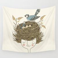 hair Wall Tapestries featuring Bird Hair Day by Monica Gifford