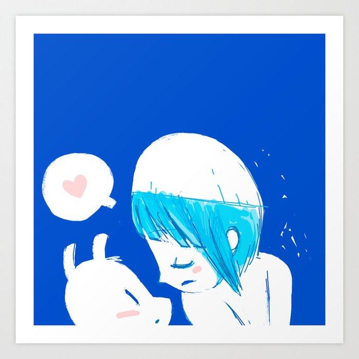 Blue lovers Art Print