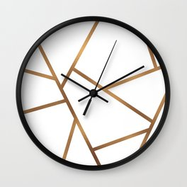 White and Gold Fragments - Geometric Design Wall Clock