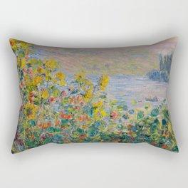"Claude Monet ""Flower Beds at Vétheuil"" Rectangular Pillow"