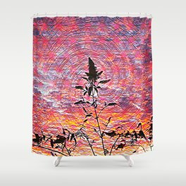 Leaf shadow at sunset Shower Curtain