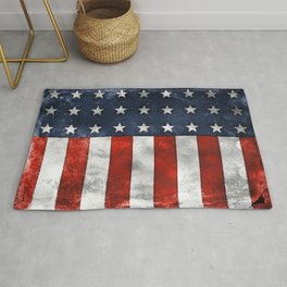 American Flag Stars and Stripes Distressed Grunge 4th. July Rug