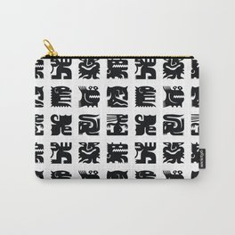 Black and white square monsters Carry-All Pouch