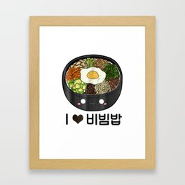 Cute I Love Bibimbap Bibimbop South Korean Food T Shirt Gift Framed Art Print