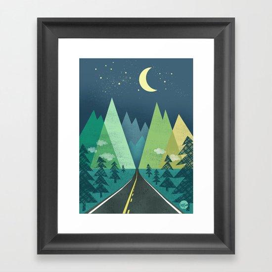 The Long Road at Night Framed Art Print