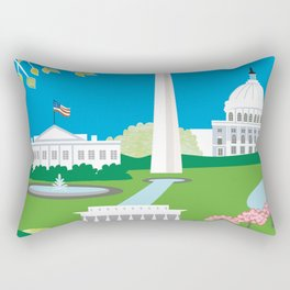 Washington, D.C. - Skyline Illustration by Loose Petals Rectangular Pillow