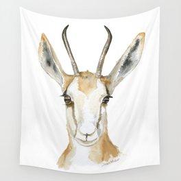 Springbok Antelope Watercolor Painting Wall Tapestry