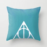 deathly hallows Throw Pillows featuring Deathly Hallows - Blue by Phoenix Prints
