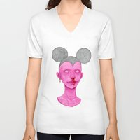 mouse V-neck T-shirts featuring MOUSE by nijikon