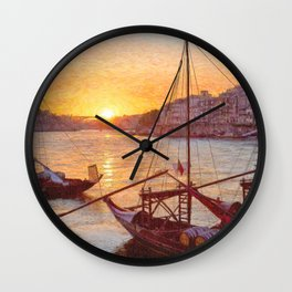 Porto sunset, Portugal Wall Clock