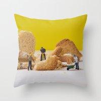 work hard Throw Pillows featuring Hard Work by Encolhi as Pessoas