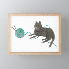 Knitty Kitty Sittin' Pretty Framed Mini Art Print