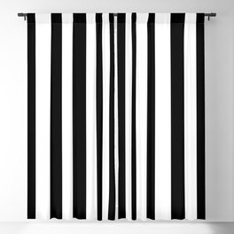 Solid Black and White Wide Vertical Cabana Tent Stripe Blackout Curtain